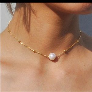 pearl and gold chain choker necklace